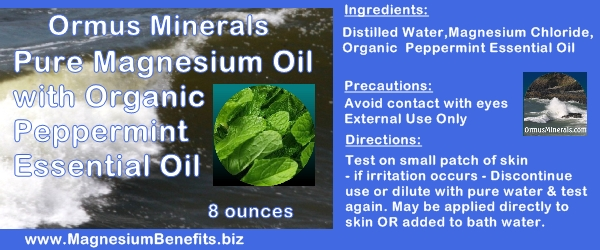 Ormus Minerals PURE Magnesium Oil with Organic Peppermint Oil
