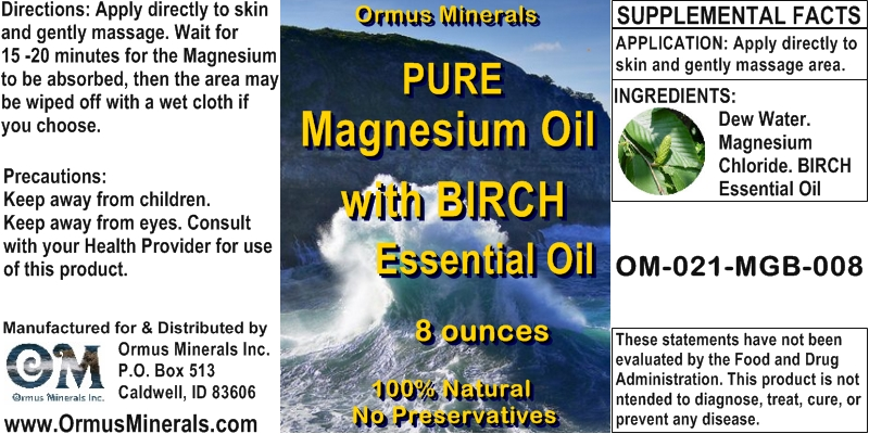 Ormus Minerals Pure Magnesium Oil with BIRCH Essential Oil