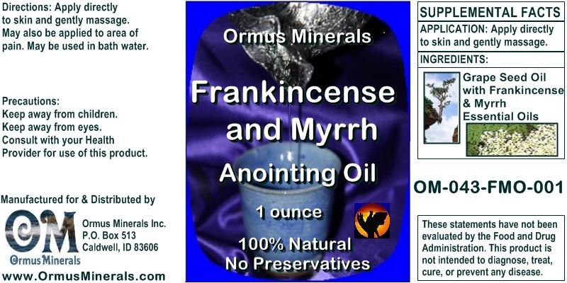 Ormus Minerals Frankincense & Myrrh Anointing Oil 1 oz