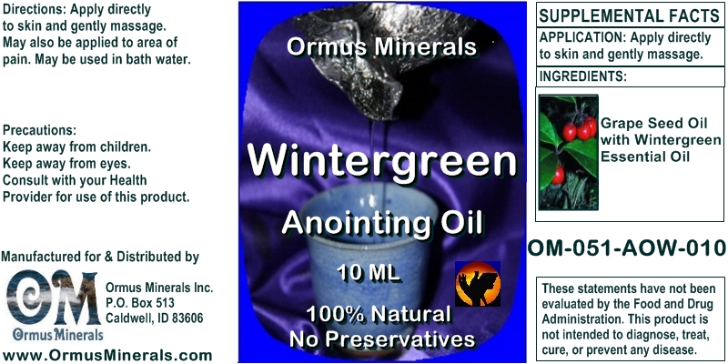 Ormus Minerals Wintergreen Anointing Oil 10 Ml
