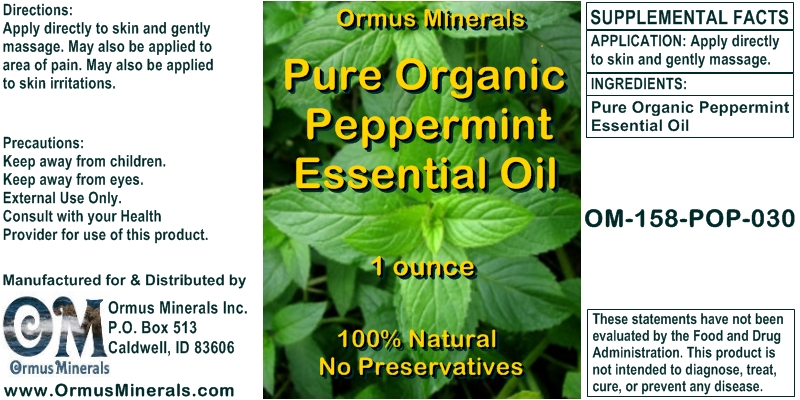 Pure Organic Peppermint Essential Oil
