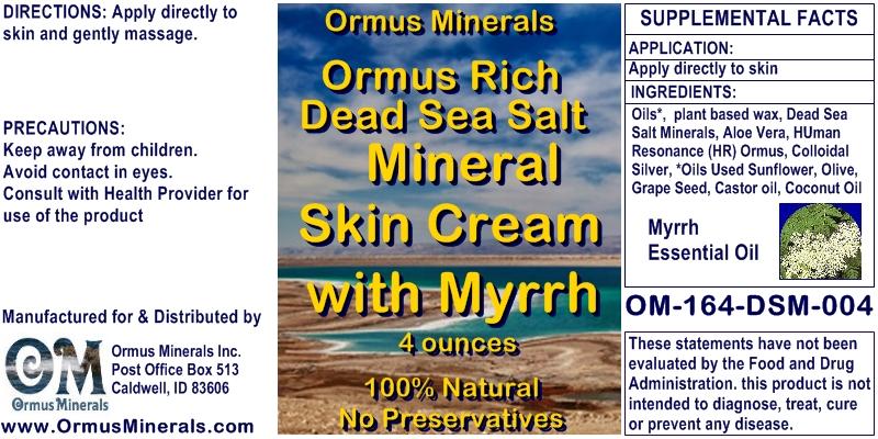 Ormus Minerals Dead Sea Salt Mineral Skin Cream with Myrrh
