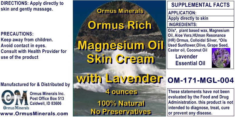 Ormus Minerals Ormus Rich Magnesium Oil Skin Cream with Lavender