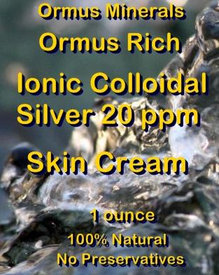 Ormus Minerals -Ormus Rich Ionic Colloidal Silver 20 ppm Skin Cream