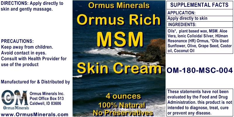 Ormus Minerals Ormus Rich MSM Skin Cream