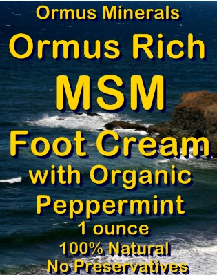 Ormus Minerals -Ormus Rich MSM FOOT Cream with Organic PEPPERMIN