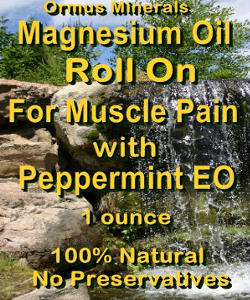 Ormus Minerals -Magnesium Roll On for Muscle Pain with Organic Peppermint Essential Oil