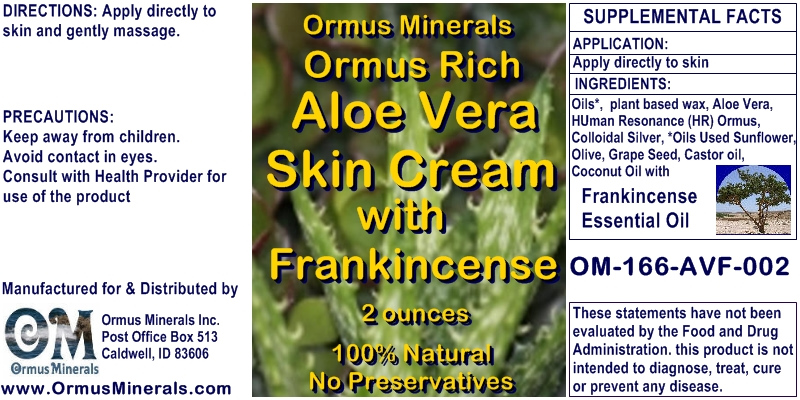 Ormus Minerals - Ormus Rich Aloe Vera Skin Cream with Frankincense