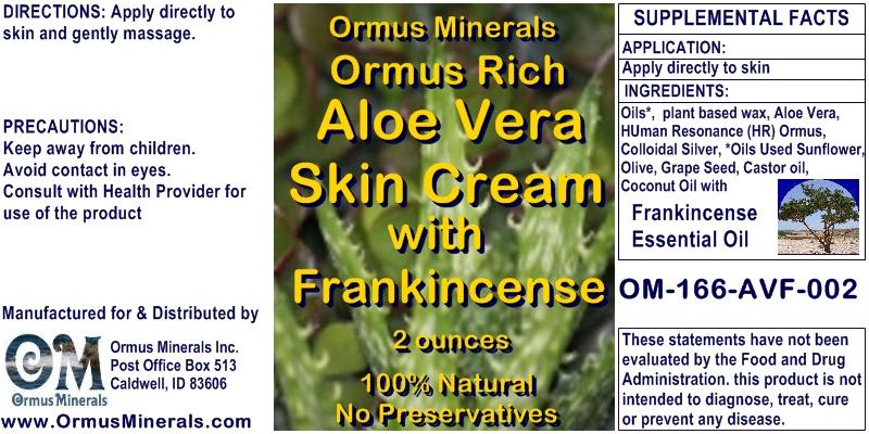 Ormus Minerals - Ormus Rich Aloe Vera Skin Cream with Frankincense
