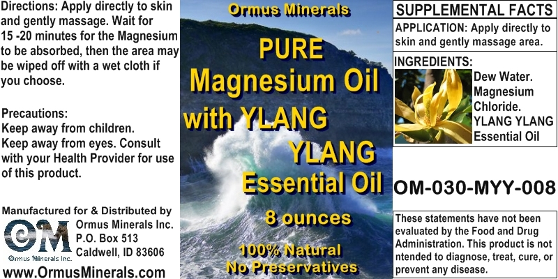 Ormus Minerals - Pure Magnesium Oil with Ylang Ylang Essential Oil