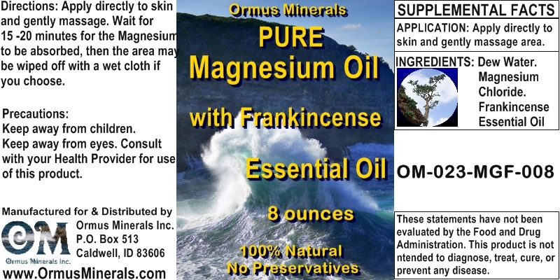 Ormus Minerals - PURE MG Oil with Frankincense Essential Oil