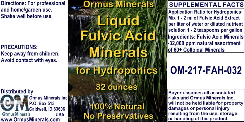 Ormus Minerals Fulvic Acid Minerals for Hydroponics