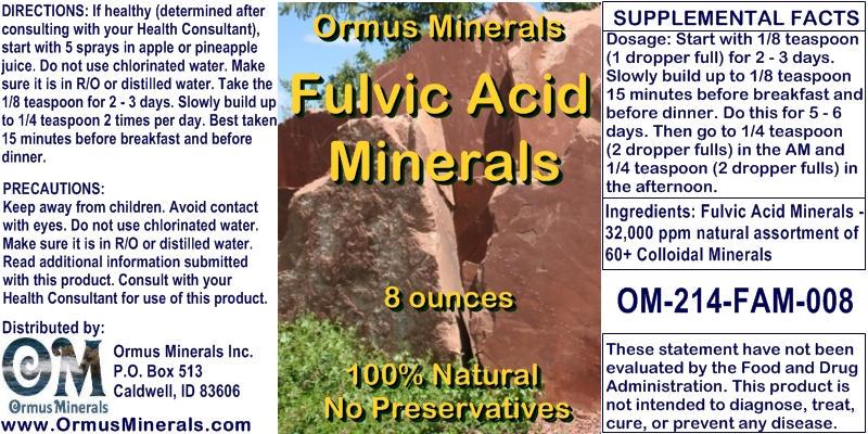 Ormus Minerals Fulvic Acid Minerals