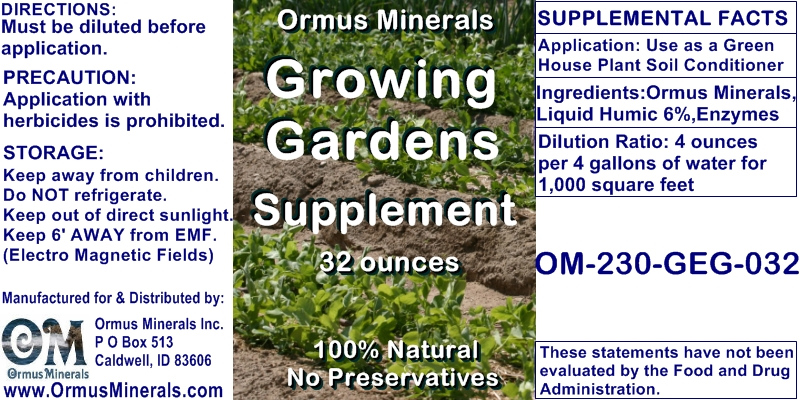 Ormus Minerals Growing Gardens Supplement