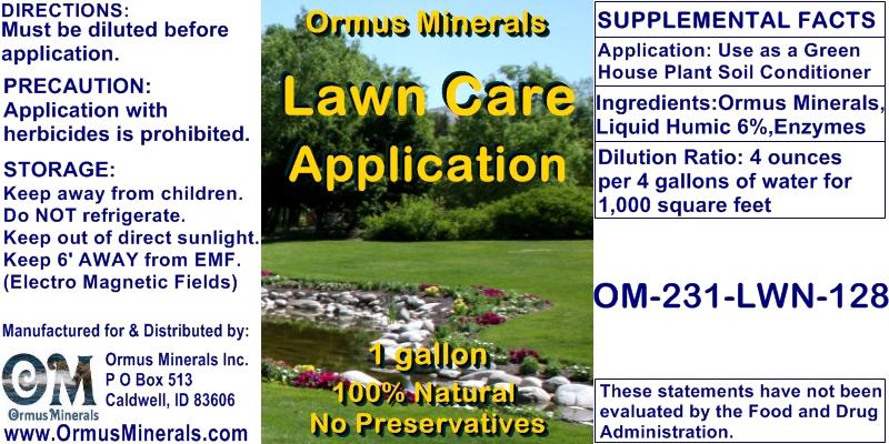 Ormus Minerals Lawn Care Application