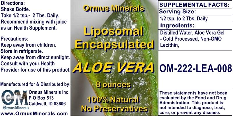 Ormus Minerals Liposomal Encapsulated Aloe Vera