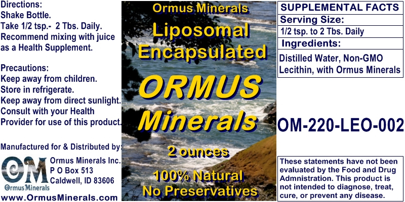 Ormus Minerals Liposomal Encapsulated ORMUS Minerals