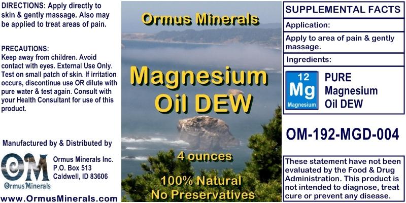 Ormus Minerals Magnesium Oil DEW