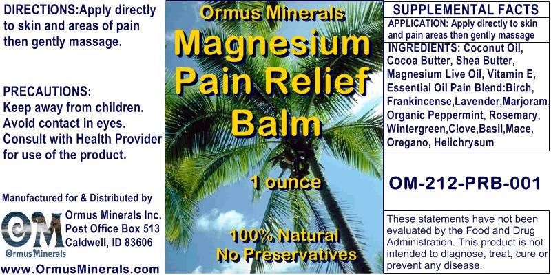Ormus Minerals Magnesium Pain Relief Balm