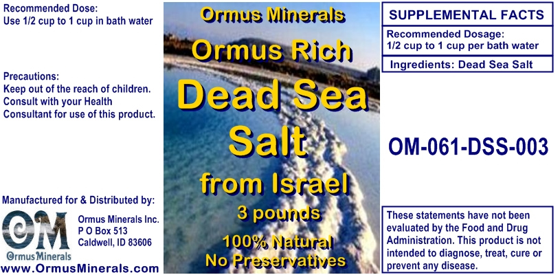 Ormus Minerals Ormus Rich Dead Sea Salt from Israel