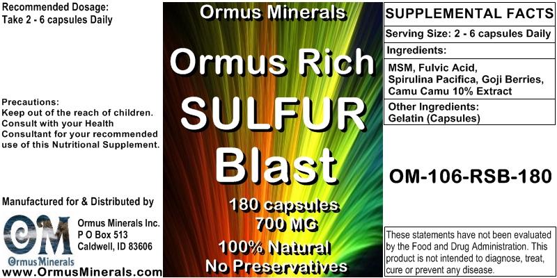 Ormus Minerals Ormus Rich Sulfur Blast 180 capsules