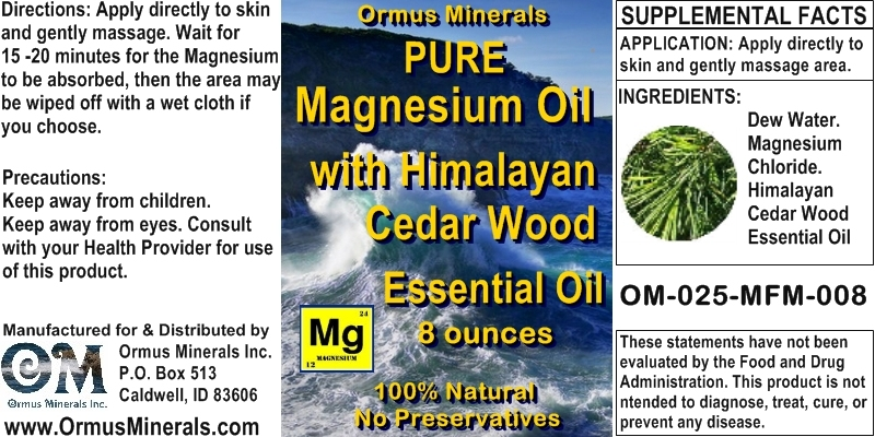 Ormus Minerals - Pure Magnesium Oil with Himalayan Cedar Wood Essential Oil